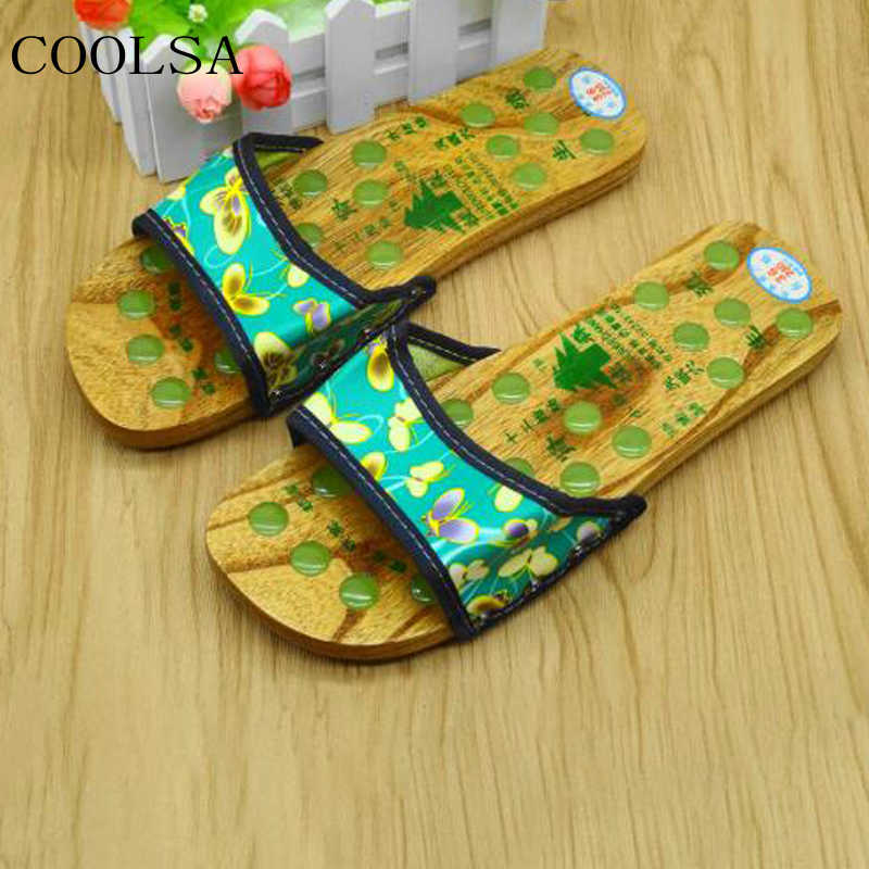 COOLSA/женские летние массажные тапочки из нефрита; Повседневные тапочки на плоской подошве с принтом; Домашние Нескользящие домашние тапочки; женские сандалии-шлепанцы