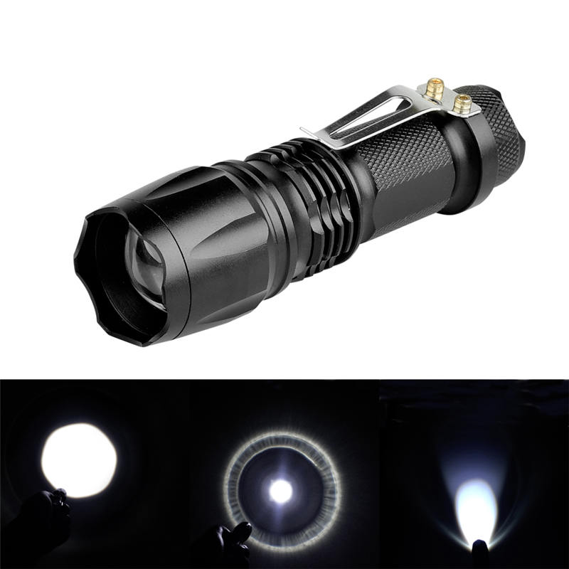1209 XPE 600LM Zoomable EDC 3 Modes LED Flashlight Black Shape Aluminum alloy Outdoor Waterproof Portable Light Battery Torches