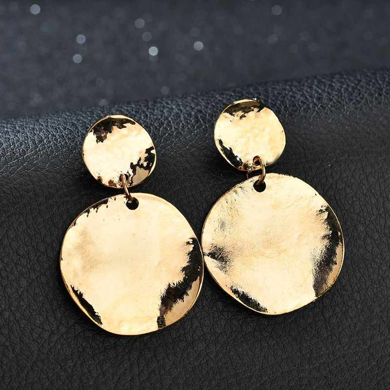 2018 New Geometric Circle Metal Drop Earring for Women Minimalist Gold Color Bright Round Pendientes Statement Brincos Jewelry