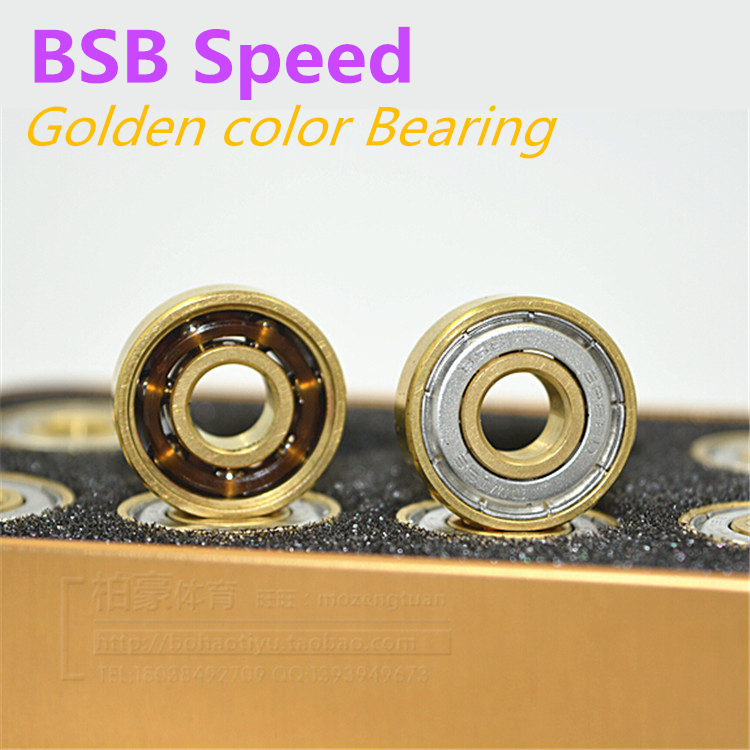 16PCS BSB Golden Color High Speed Precise Skating Bearing, Gold Roller Skates Bearings, Skate Chrome Steel 608 8*22*7mm