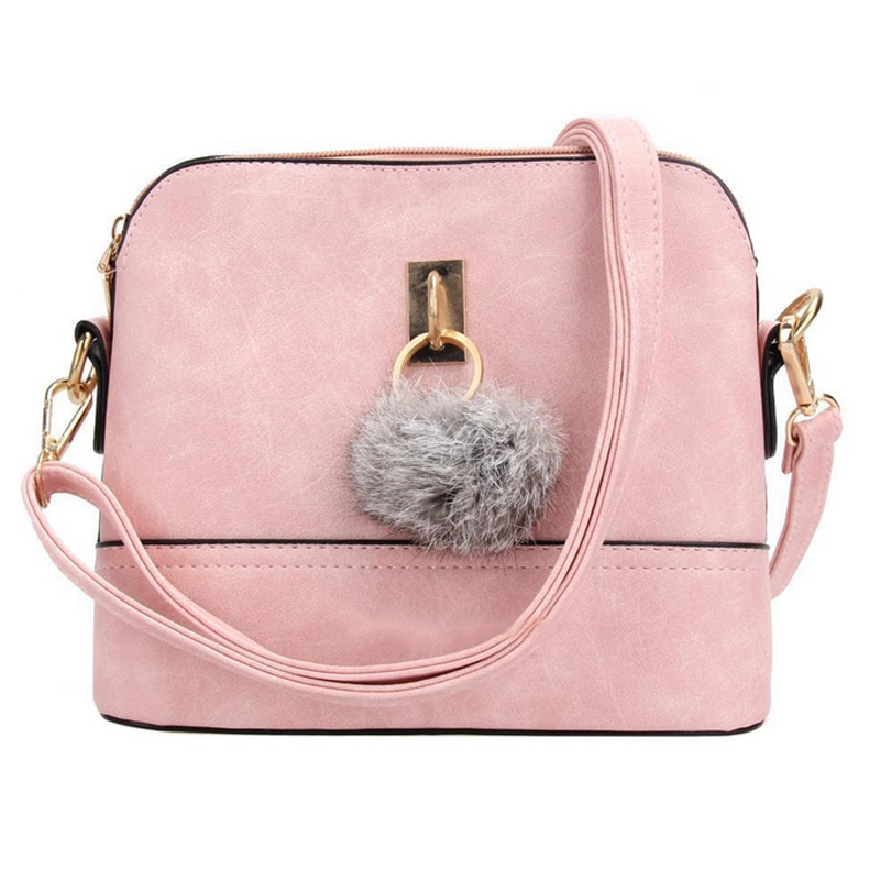 Fashion Women Message Bags Solid Color Leather Plush Ball Handbag Lovely Purse Ladies Girls Crossbody Shoulder Bag BS88 3 bag set girls patent leather handbag and purse solid colors ladies desinger bags classic woman s handbag female shoulder bags