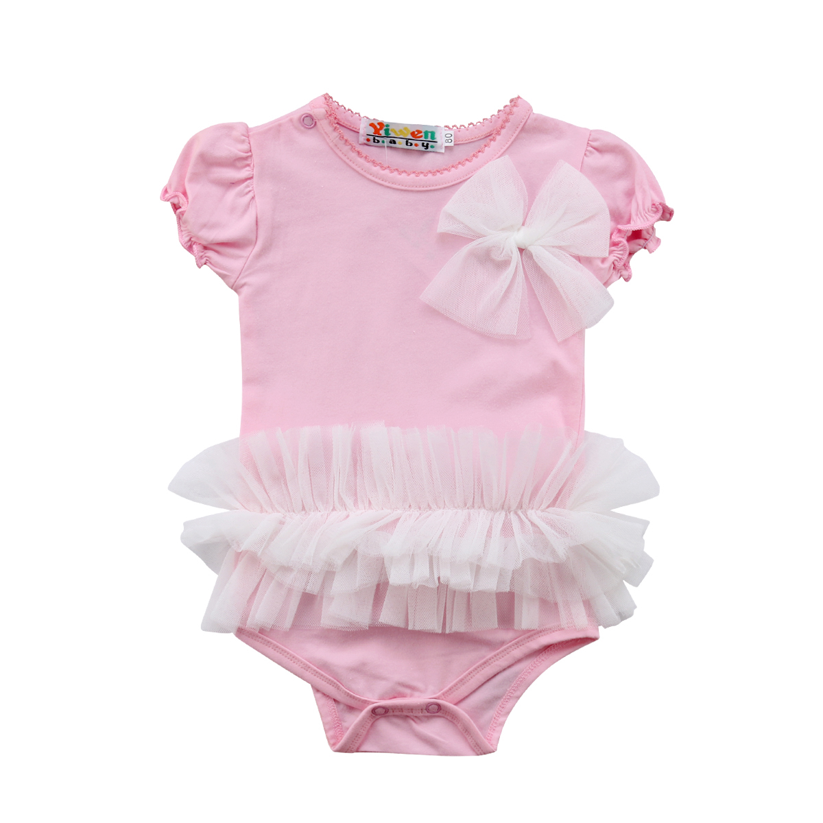 2018 Toddler Kids Baby Girl Pink Lace Tulle Short Sleeves