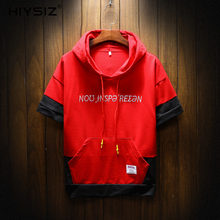 HIYSIZ NEW Hoodies 2019 hot Cotton Casual Streetwear Fashion Trend Brand letter pattern short sleeves hoodie Male Summer ST428