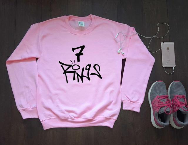 Sugarbaby Ariana Grande 7 Rings Sweatshirt Ariana Grande Jumper best friend gift  Seven rings Sweatshirt Long Sleeve Pink Tops 1