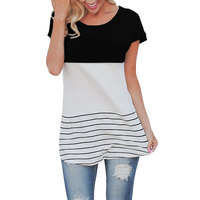 VITIANA Brand 2017 Women Spring Summer T Shirt Cotton O Neck Short Sleeve Striped Patchwork Casual