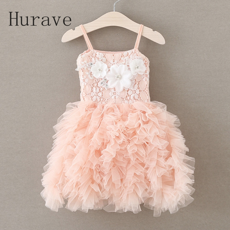 Hurave summer style lace dress girl tutu vestidos floral fashion appliques pearl kids cotton dress vest