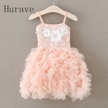 Hurave summer style lace dress girl tutu vestidos floral fashion appliques pearl kids cotton dress vest princess girl robe fille