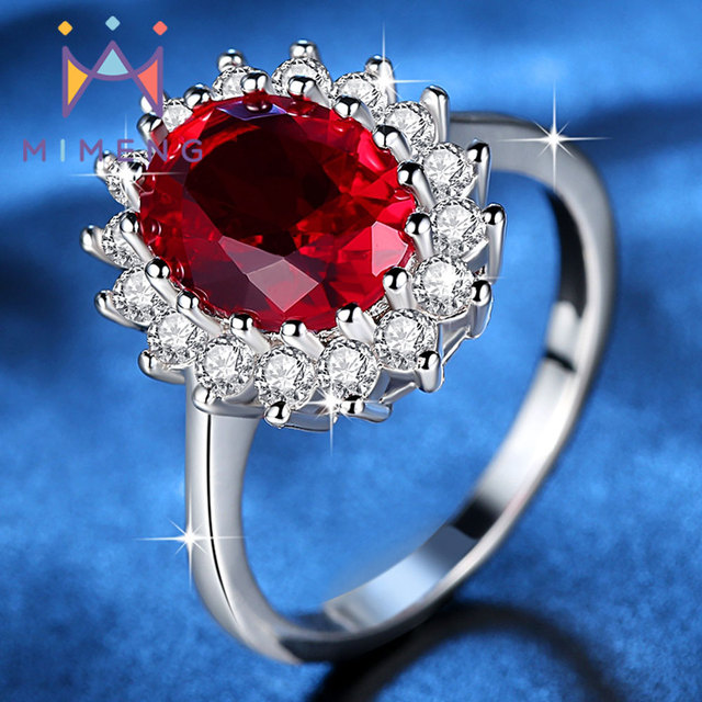 Fine Quality CZ stone Ring Hot Sale Princess Ring Big Blue/Red/Clear Crystal Rin