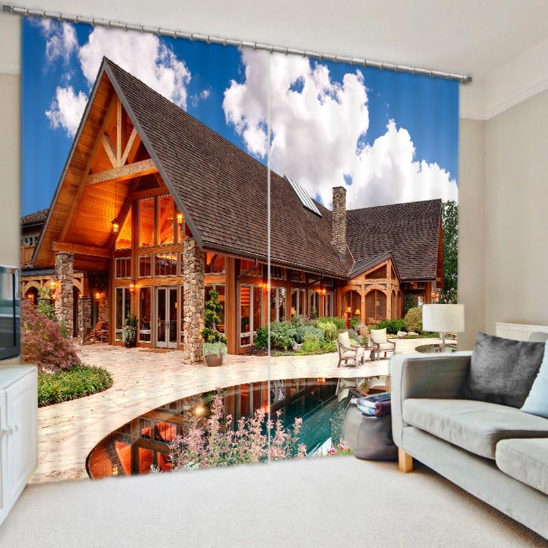 Cafe Hotel 3D Blackout Curtains Panel Seaside Resort Hut