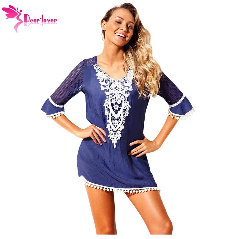 1efd9a88 Dear Lover 2018 Summer Women Boho Dress Vintage Blue Crochet Pom Pom Trim  Beach Wear Tunic