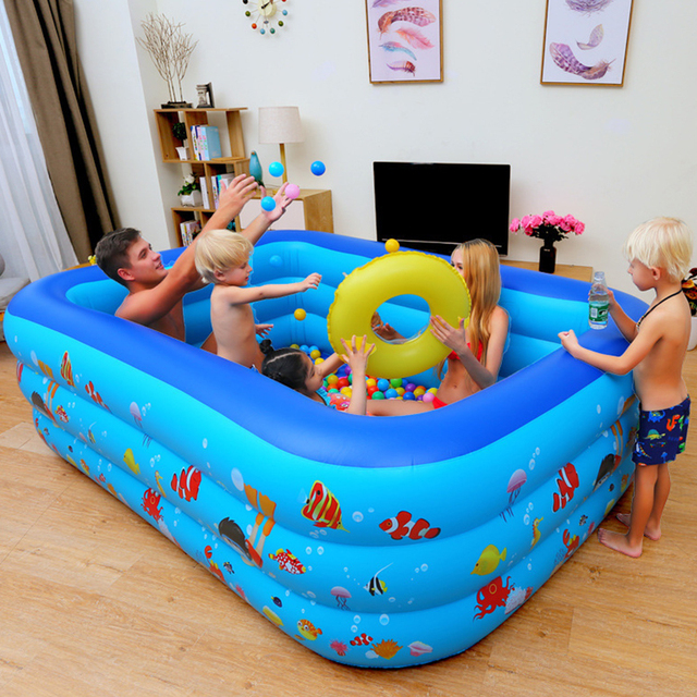 Piscina inflable bebé Piscina portátil al aire libre recipiente para niños bañera niños Piscina bebé Piscina cuadrada Shpe 5