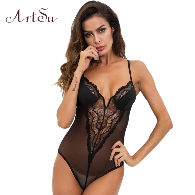 ArtSu Women Sexy Bodysuit Lace Hollow Out Strap Backless V-neck Black Bodycon Female See-Through Body Romper New ASJU41089