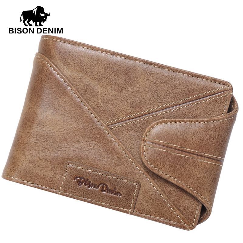BISON DENIM Vintage Designer 100% Genuine Cowhide Leather Men Short Wallet Purse Card  Holder Coin Pocket Male Wallets W4402 цена и фото