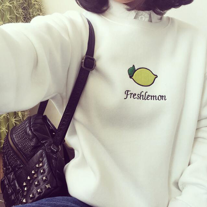 Spring Autumn New Style Women Hoodies Fashion Fresh Lemon Print Long Sleeve Cotton Women Pullovers Sweatshirt Loose Tracksuit