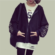 A7 Seven Cool And Handsome Zipper Women Jacket Korean Style Embroidery Loose Smiley Face Sweater Tide Women Jacket Hot A2111
