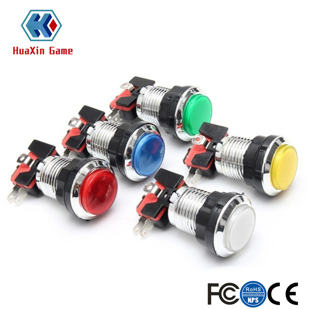 50 Pcs/lots Chrome Plating 5V/12V 30mm LED Illuminated Push Buttons With Micro Switch For Arcade Machine Games Mame Jamma Parts(China)