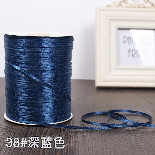 3 мм ширина бордовые атласные ленты 22 метра швейная ткань подарочная упаковка «сделай сам» ленты для свадебного украшения - Цвет: Dark Blue