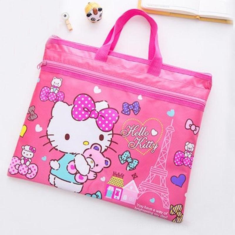 1 Pcs Kawaii Cute Hello Kitty Cartoon File Bag Document Bag File Folder Stationery Filing Production School Supply