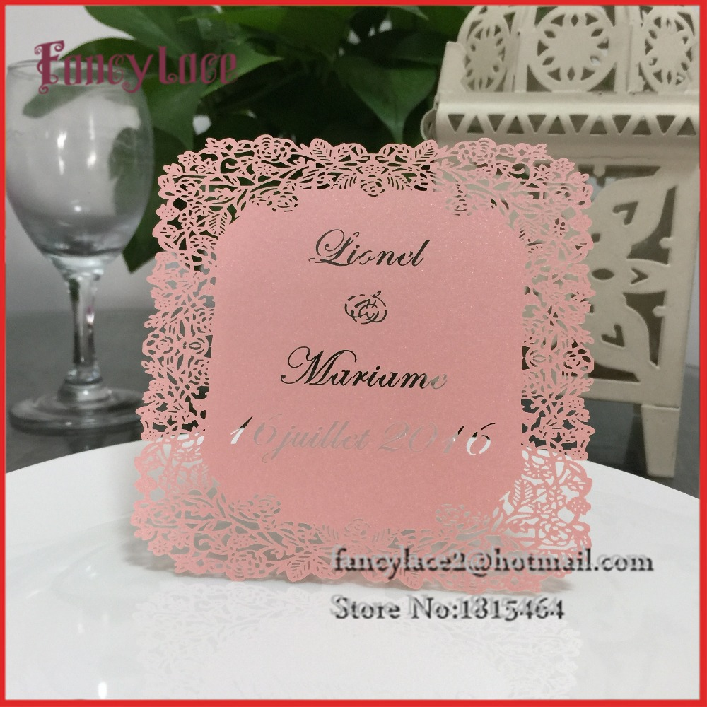 30pcs Hot Sale Handmade Menu Cards,Laser Cut Flower Design Wedding ...