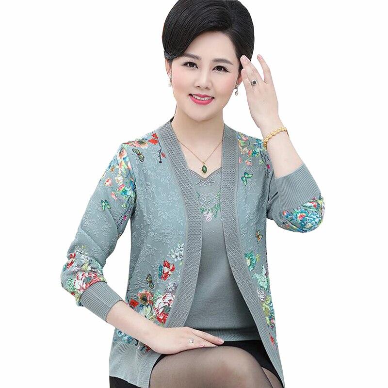Sweters femmes 2018 printemps femmes à tricoter Deux ensembles de Laine chandail de femmes à manches longues plus la taille cardigan tops cardigan feminino