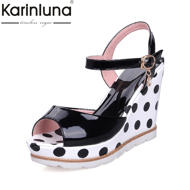 Karinluna Hot Sale Size 33-41 Peep Toe Wedge high-heeled Women Shoes Sandal Fashion Ankle Strap Platform Party Shoes Woman global elementary coursebook with eworkbook pack