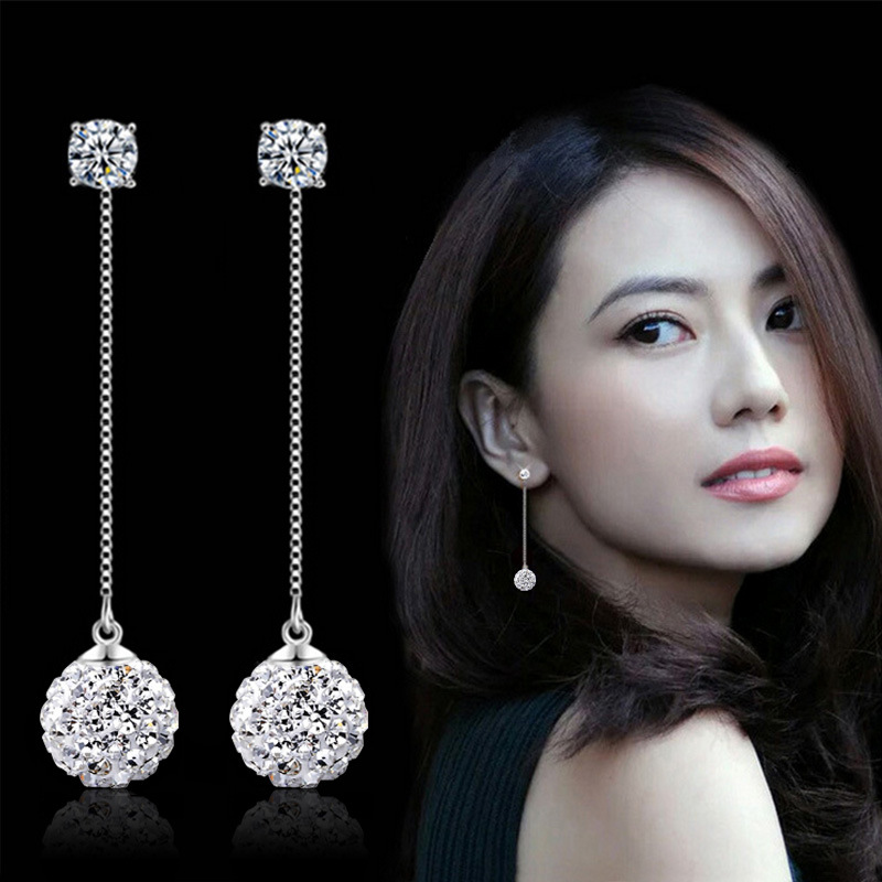 Wholesale 925 sterling silver fashion shiny crystal Shambhala ball ladies tassels stud earrings jewelry female Anti allergy gift