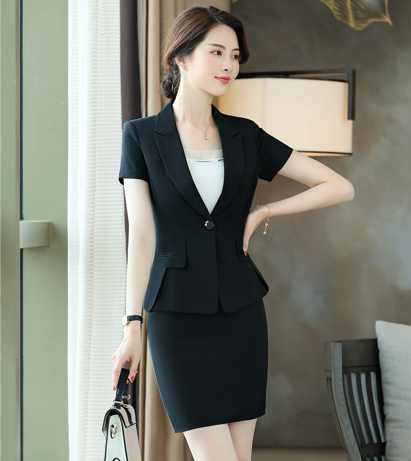 Novelty Black Fashion Styles Women Business Suits With Tops And Skirt For Ladies Office Work Wear Blazers Sets 2019 Summer