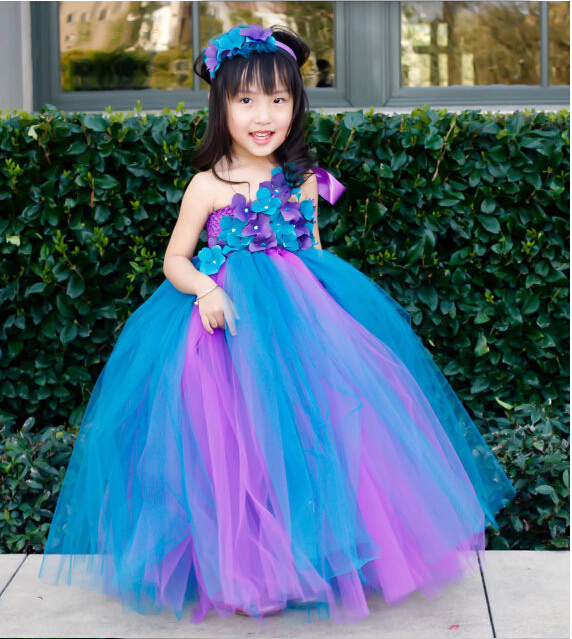 2015ed4b2 Purple and Peacock Blue Girl Flower Dress Baby TuTu Dress Baby Baptism Dress  Toddler Tutu Dress Wedding Birthday Size 2T-8Y