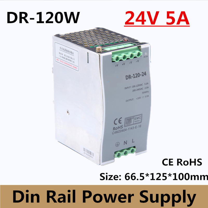 цена на (DR-120-24) 24v 5a din rail switching power supply 120w 24VDC DIN Rail power supply for led light CCTV free shipping