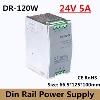 (DR 120 24) 24v 5a din rail switching power supply 120w 24VDC DIN Rail power supply for led light CCTV free shipping
