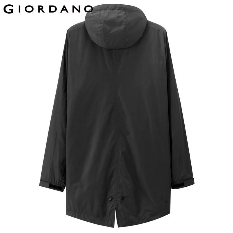 Giordano Men Jacket Stand Collar Detachable Hood Elastic Drawstring Jackets Men Medium Long Pockets Coat Hombre Winter Jacket-in Jackets from Men's Clothing    3