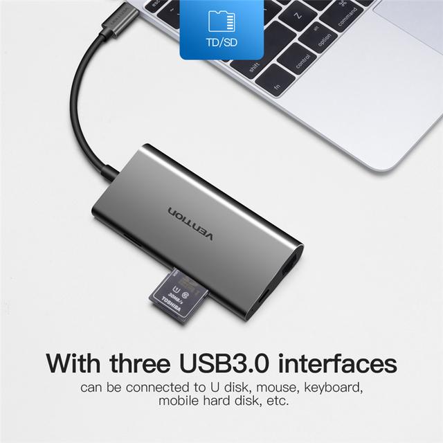 Vention Usb Hub USB Type C to HDMI USB 3.0 HUB Thunderbolt 3 Adapter For MacBook Samsung S9 Huawei Mate 20 P20 Pro USB-C HUB