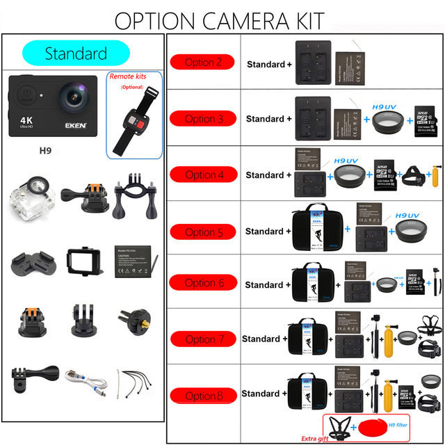 Original EKEN H9 H9R Ultra HD 4K 25fps Action Camera 30m waterproof 2-inch LCD Screen Wi-Fi Remote Gopro Style Sports Camera 5