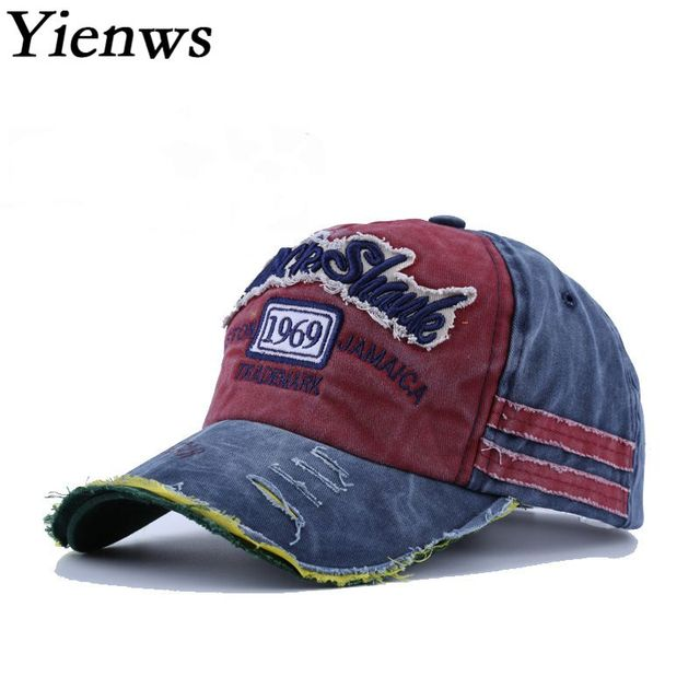Yienws Vintage Old Worn Jeans Baseball Caps for Women Men Letter Embroidery  Fashion Bone Trucker Hats Summer Full Sun Hat YIC607 a04fc54daa5