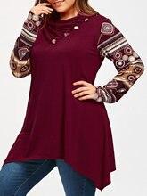 New Fashion Autumn Heaps Collar Long Sleeve Plus Size XL-5XL Sharkbite T-Shirt Casual Loose Elastic Panel Tee