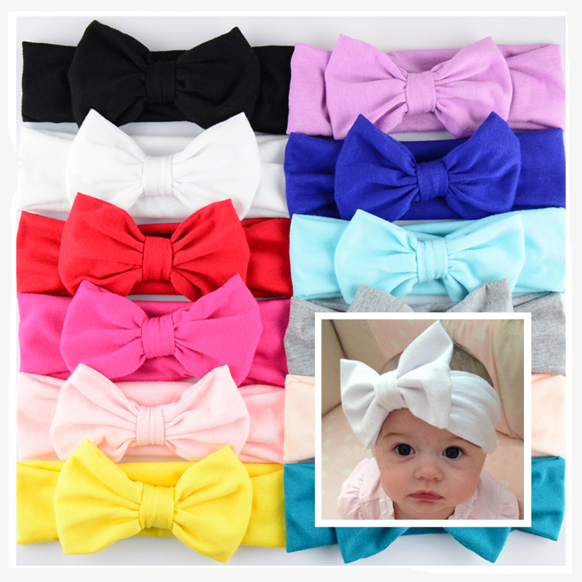 DHL Free Shipping 200pcs lot 12 C Cotton Headbands With Big Bows For New Birth girls