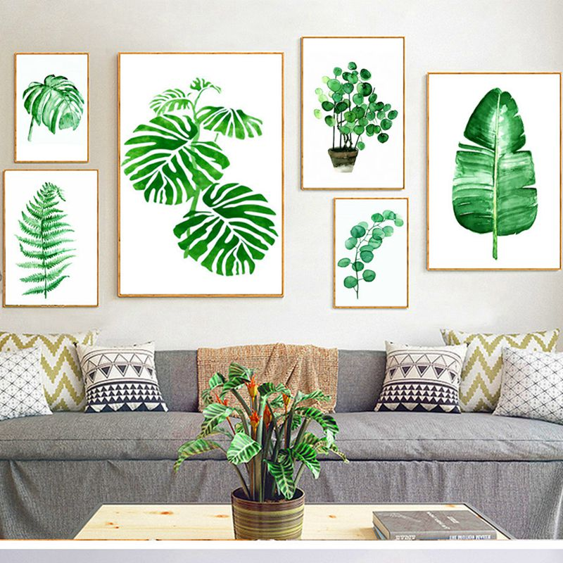 1pcs Tropical Pastoral Green Plants Leaves Poster Wall Art