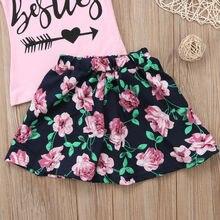 Baby Little Big Sister Girls Besties Tanks Floral Skirt Matching Summer Outfits