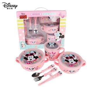 Image 5 - Детский набор посуды disney из 6 предметов, чаша для кормления детей, Микки, Минни, чашка для молока, палочки для еды, ложки и вилки