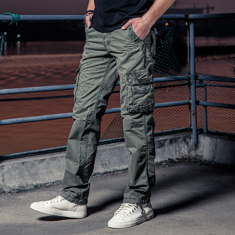 Many Pocket Tactical Pants Army Male Camo Jogger Plus Size Cotton Trousers Zip Military Style Camouflage Black Men's Cargo Pants