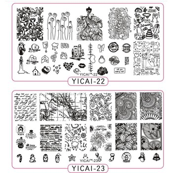 цена на 1pc New Flowers Love Nail Art Stamp Stamping Image Plate 6*12cm Stainless Steel Template Polish Manicure Stencil Tool YICAI22/23