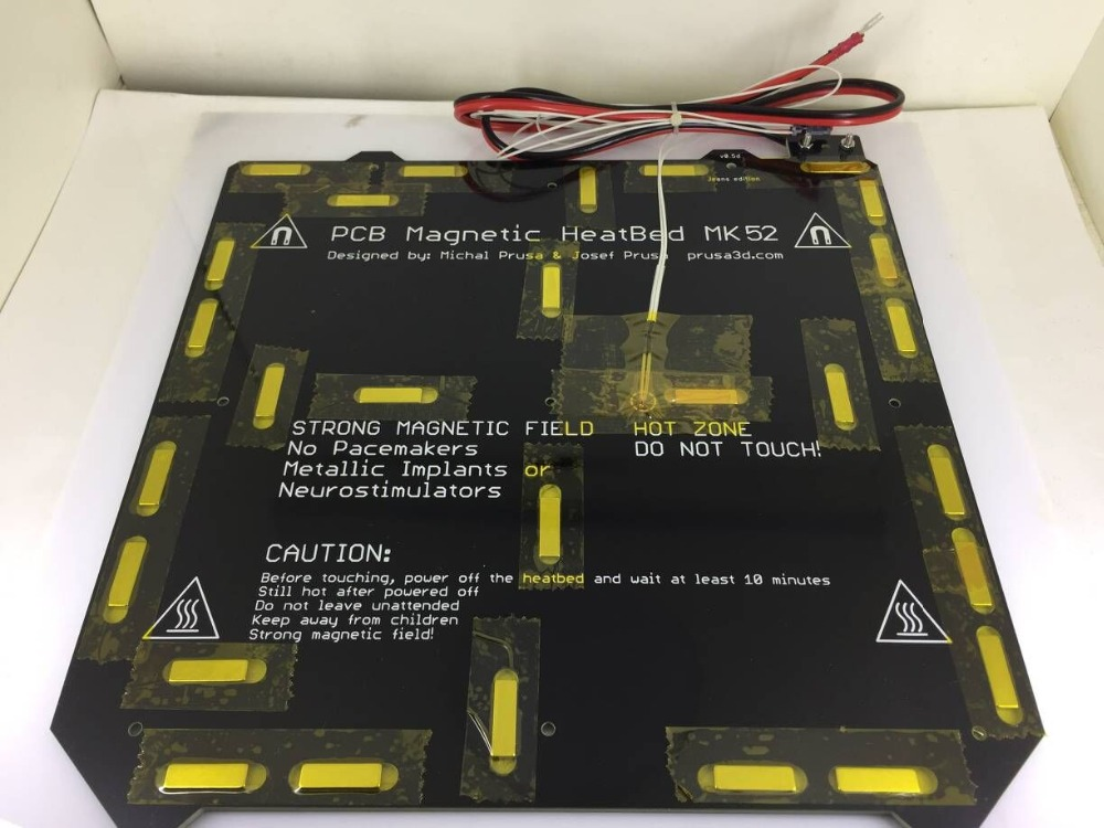 24V 12V Clone Prusa i3 MK3 3d printer heated bed Magnetic MK52 Heatbed with thermistor assembly