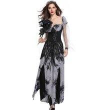 Смешные костюмы на Хэллоуин жуткий Череп Костюм Зомби Черный вампир, призрак, невеста для женщин Хэллоуин вечерние косплей Дьявол