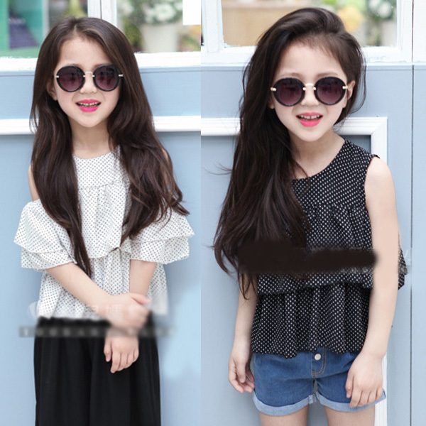 c85b4e088674f Hot Sales Baby Kids Girls Dots Chiffon Off Shoulder Tops Party T shirts  Ruffled Tee Shirt-in Tees from Mother   Kids on Aliexpress.com
