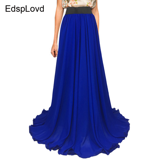 2b34b94479e21 EdspLovd 8 M Hem Plus Size Royal Blue Skirt Women Chiffon Maxi Skirt Casual  Floor-length Solid Color A35