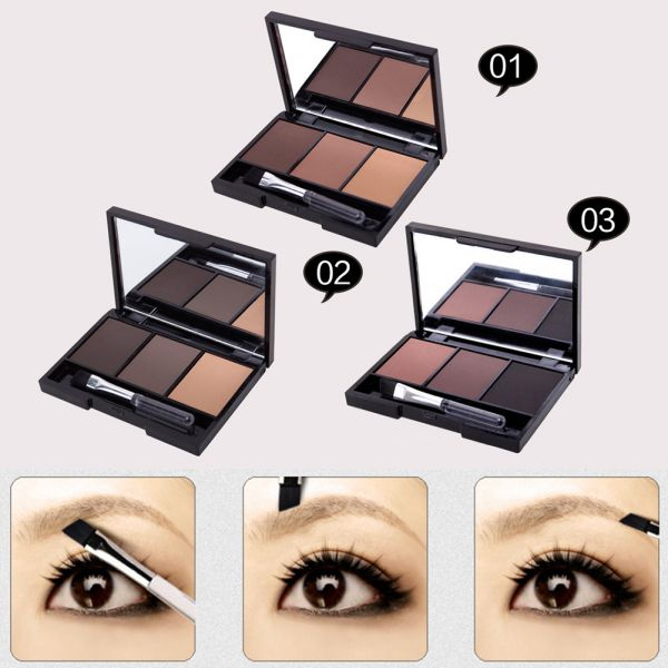 Hot Professional Kit 3 Color Eyebrow Powder Shadow Palette Enhancer with Ended Brushes 4