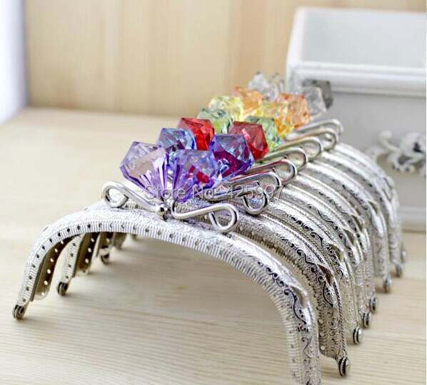 freeshipping 125cm arc crystal diamond stone candy bead coins purse frame silver kiss clasp metal