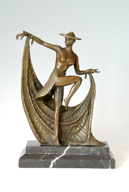 Bronze Sculpture Mexican Dancer Dancer Handmade Lost Wax Antiques Souvenir  Home Office Decoration