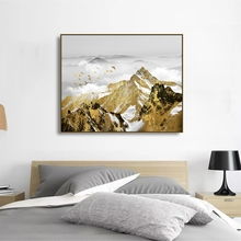 Laeacco Canvas Calligraphy Painting Chinese Landscape Wall Artwork Posters and Prints Home Living Room Decor