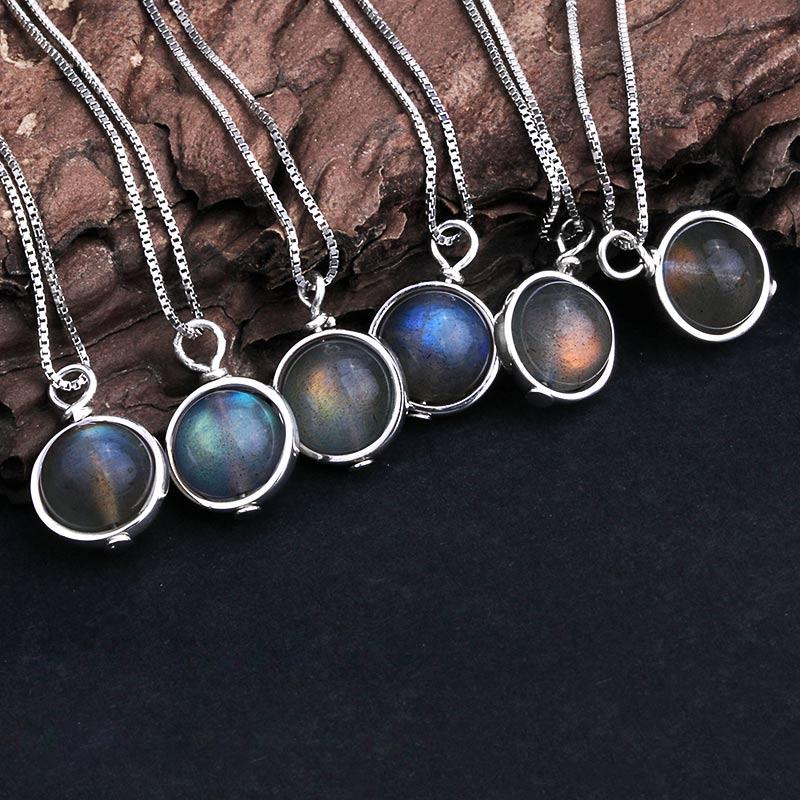 Echt 925 Silber Natur Labradorit Stein Anhänger Halskette Für Frauen Glück Perle Feine Schmuck Edelstein bijoux